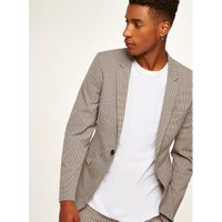 Mens Beige Stone Check Ultra Skinny Suit Jacket, Beige