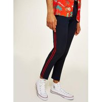 Mens Navy Skinny Cropped Smart Trousers With Side Taping, Navy
