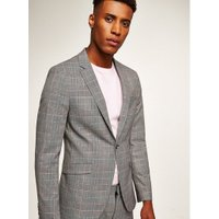 Mens Multi Grey Check Super Skinny Jacket, Multi