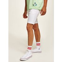 Mens White Stretch Skinny Shorts, White