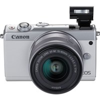 CANON EOS M100 Mirrorless Camera with EF-M 15-45 mm f/3.5-6.3 IS STM Lens - White, White