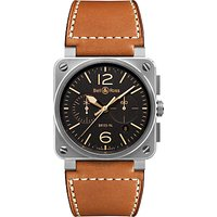 Bell & Ross BR0394-ST-G-HE/SCA Men's Golden Heritage Chronograph Leather Strap Watch, Brown/Black