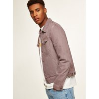 Mens Washed Pink Denim Jacket, Pink