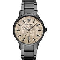 Emporio Armani AR11120 Men's Date Bracelet Strap Watch, Gunmetal/Grey