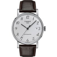 Tissot T1094071603200 Unisex Everytime Automatic Date Leather Strap Watch, Brown/White