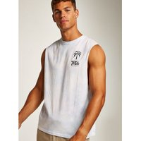 Mens White Wash Tropic Tank Vest, White