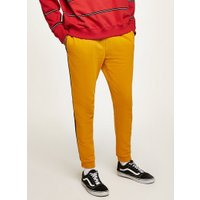 Mens Yellow and Black Side Taping Joggers, Yellow