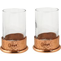 English Pewter Company Shot Glasses with Copper Hammered Base, Set of 2, Crystal