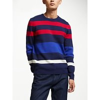 Kin Compact Knit Stripe Jumper, Blue/Red
