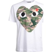 Comme Des Garcons  Comme Des Garons PLAYwhite t-shirt with camouflage heart  men's T shirt in White