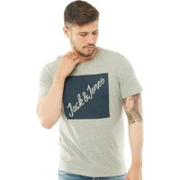 JACK AND JONES Mens Traffic T-Shirt Light Grey Melange