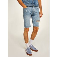 Mens Blue Bleach Ripped Stretch Skinny Shorts, Blue