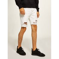 Mens White Ripped Slim Shorts, White