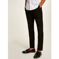 Mens Black Skinny Fit Smart Trousers, Black