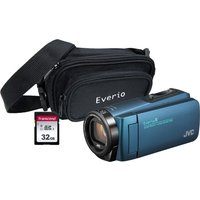 JVC GZ-R495BEK Camcorder & Accessories Bundle - Blue, Blue