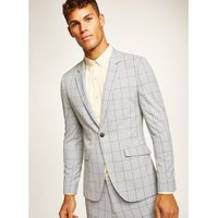 Mens Green Grey Check Muscle Fit Blazer, Green