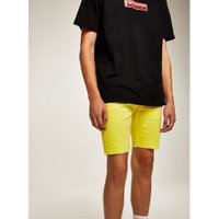 Mens Yellow Stretch Skinny Shorts, Yellow