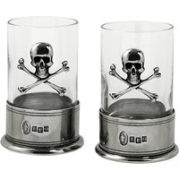 English Pewter Company Skull Shot Crystal Glasses, Set of 2