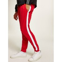 Mens Multi Red and White Side Taping Joggers, Multi