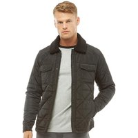 Fluid Mens Quilted Jacket With Borg Collar Black