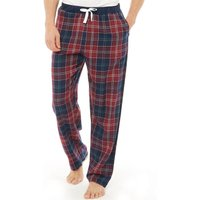 Onfire Mens Woven Checked PJ Pants Burgundy/Navy Check