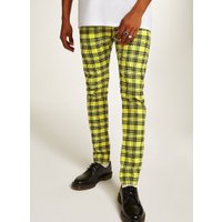 Mens Yellow Check Stretch Skinny Chinos, Yellow