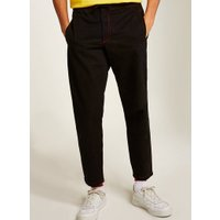 Mens Black Contrast Stitch Woven Joggers, Black