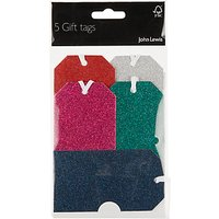 John Lewis & Partners Glitter Luggage Tags, Pack of 5
