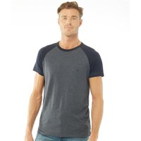 French Connection Mens Raglan Short Sleeve T-Shirt Marine Melange