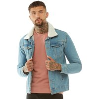 Brave Soul Mens Larson Detachable Borg Collar Denim Jacket Light Blue Denim/Cream Borg