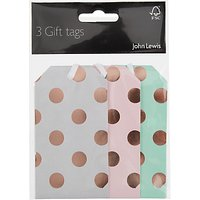 John Lewis & Partners Pastel Spots Gift Tags, Pack of 3