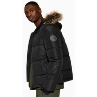 Mens Black Hooded Puffer Jacket, Black
