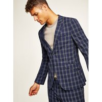 Mens Navy Check Muscle Fit Suit Jacket, Navy