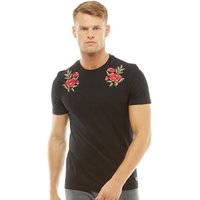 Fluid Mens Embroidered Shoulder T-Shirt Black