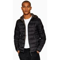 Mens Black Hooded Liner Jacket, Black