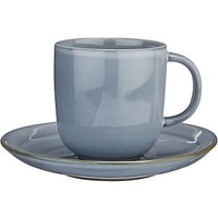 John Lewis & Partners Glaze Double Cup and Saucer, 180ml, Blue