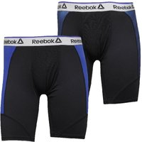 Reebok Mens Leon Performance Two Pack Long Trunks Black/Blue Move