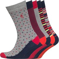 Original Penguin Mens Five Pack Socks Grey/Scarlet