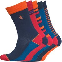 Original Penguin Mens Five Pack Socks Dress Blue/Mandarin
