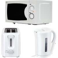 ESSENTIALS Solo Microwave, 2-Slice Toaster & Jug Kettle Bundle - White, White