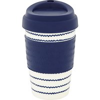 Waitrose Nautical Reusable Plastic Coffee Cup, 355ml, Blue