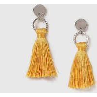 Womens Mustard Mini Tassel Earrings- Mustard, Mustard