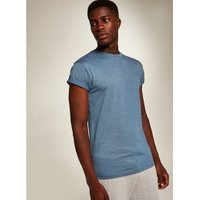 Mens Blue Denim Rolled Sleeve Skinny Fit T-Shirt, Blue