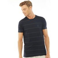 French Connection Mens Thin Stripe Print T-Shirt Marine