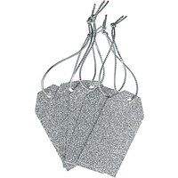 John Lewis & Partners Glitter Gift Tags, Pack of 5, Silver