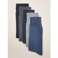 Mens Blue Marl Socks 5 Pack, Blue