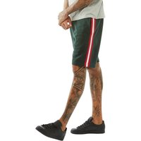 Brave Soul Mens Level Tape Detail Shorts Dark Bottle Green/Red/White