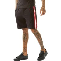 Brave Soul Mens Level Tape Detail Shorts Jet Black/Red/White