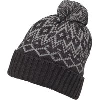 Kangaroo Poo Mens Fairisle Hat With Bobble Charcoal/Light Grey Marl
