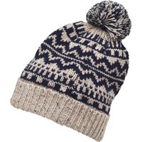 Onfire Mens Knitted Nepp Fairisle Hat With Pom-Pom Dark Navy/Ecru